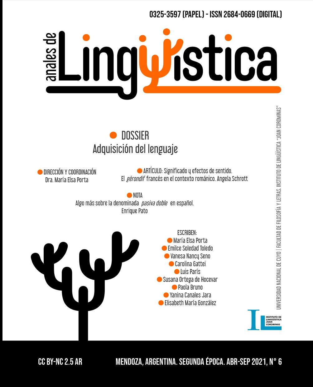 Ver Vol. 1 Núm. 6 (2021): Dossier: Adquisición del lenguaje